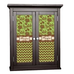 Green & Brown Toile & Chevron Cabinet Decal - Custom Size (Personalized)