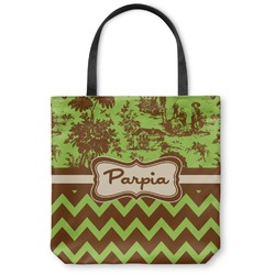 Green & Brown Toile & Chevron Canvas Tote Bag (Personalized)