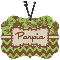 Green & Brown Toile & Chevron Rear View Mirror Charm (Personalized)