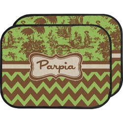Green & Brown Toile & Chevron Car Floor Mats (Back Seat) (Personalized)