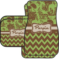 Green & Brown Toile & Chevron Car Floor Mats Set - 2 Front & 2 Back (Personalized)