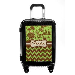 Green & Brown Toile & Chevron Carry On Hard Shell Suitcase (Personalized)