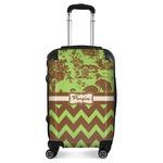Green & Brown Toile & Chevron Suitcase (Personalized)