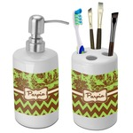 Green & Brown Toile & Chevron Bathroom Accessories Set (Ceramic) (Personalized)