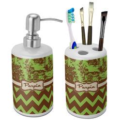 Green & Brown Toile & Chevron Ceramic Bathroom Accessories Set (Personalized)