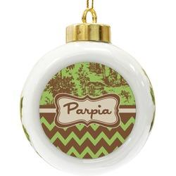 Green & Brown Toile & Chevron Ceramic Ball Ornament (Personalized)