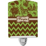 Green & Brown Toile & Chevron Ceramic Night Light (Personalized)