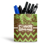 Green & Brown Toile & Chevron Ceramic Pen Holder