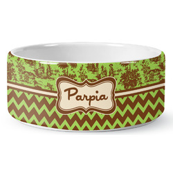 Green & Brown Toile & Chevron Ceramic Dog Bowl (Personalized)