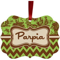 Green & Brown Toile & Chevron Ornament (Personalized)