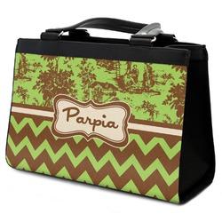 Green & Brown Toile & Chevron Classic Tote Purse w/ Leather Trim (Personalized)