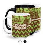 Green & Brown Toile & Chevron Coffee Mugs (Personalized)