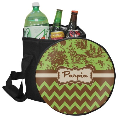 Green & Brown Toile & Chevron Collapsible Cooler & Seat (Personalized)