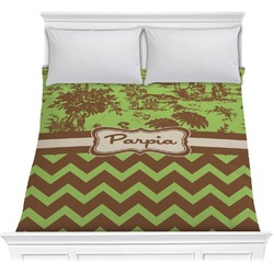 Green & Brown Toile & Chevron Comforter (Personalized)