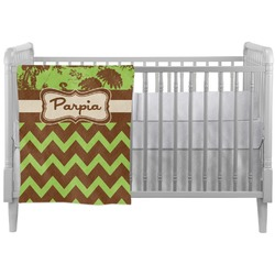 Green & Brown Toile & Chevron Crib Comforter / Quilt (Personalized)