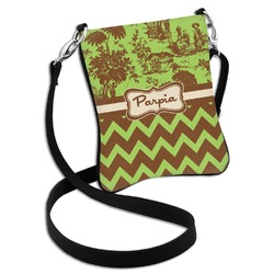 Green & Brown Toile & Chevron Cross Body Bag - 2 Sizes (Personalized)
