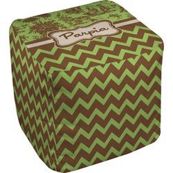 Green & Brown Toile & Chevron Cube Pouf Ottoman (Personalized)