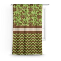 Green & Brown Toile & Chevron Curtain (Personalized)