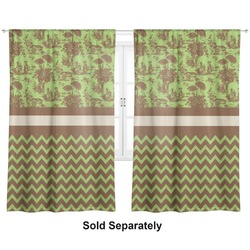 "Green & Brown Toile & Chevron Curtains - 40""x63"" Panels - Lined (2 Panels Per Set) (Personalized)"