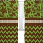 Green & Brown Toile & Chevron Curtains (2 Panels Per Set) (Personalized)