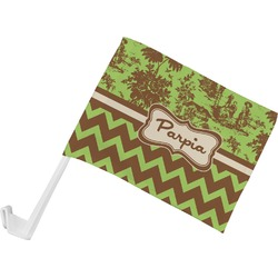 Green & Brown Toile & Chevron Car Flag (Personalized)