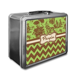 Green & Brown Toile & Chevron Lunch Box (Personalized)