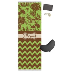 Green & Brown Toile & Chevron Yoga Mat (Personalized)