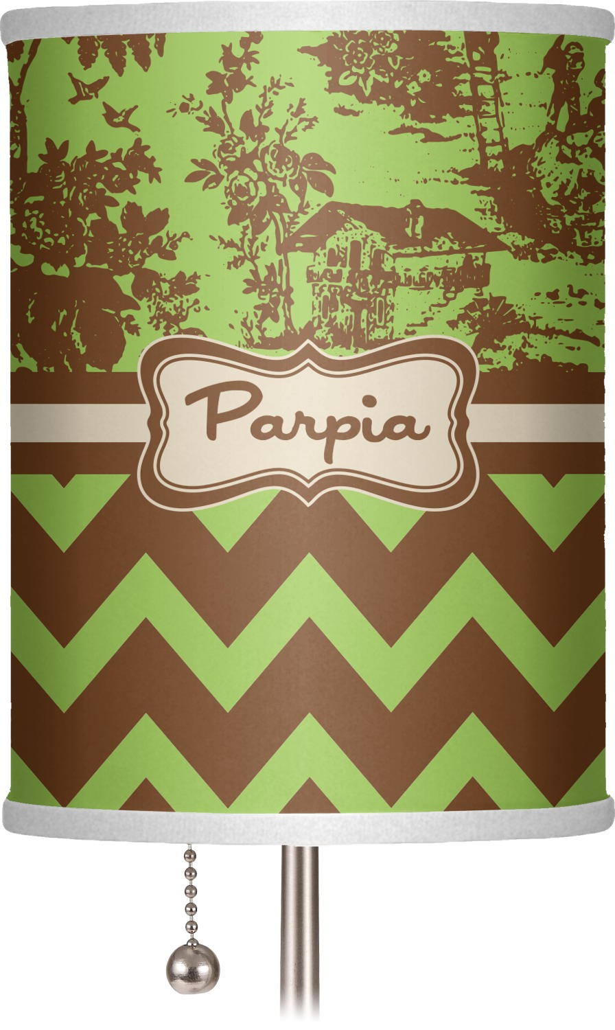 green brown toile chevron 7 drum lamp shade polyester. Black Bedroom Furniture Sets. Home Design Ideas