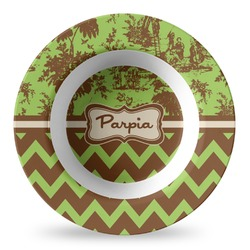 Green & Brown Toile & Chevron Plastic Bowl - Microwave Safe - Composite Polymer (Personalized)
