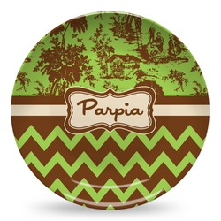 Green & Brown Toile & Chevron Microwave Safe Plastic Plate - Composite Polymer (Personalized)
