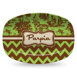 Green & Brown Toile & Chevron Plastic Platter - Microwave & Oven Safe Composite Polymer (Personalized)