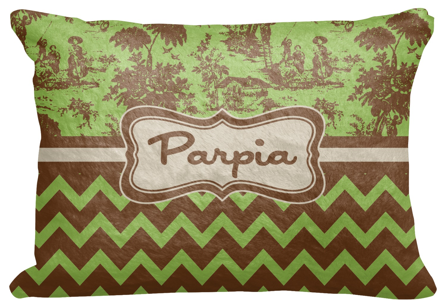 green brown toile chevron decorative baby pillowcase. Black Bedroom Furniture Sets. Home Design Ideas