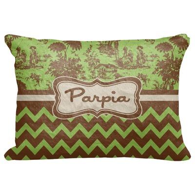 "Green & Brown Toile & Chevron Decorative Baby Pillowcase - 16""x12"" (Personalized)"