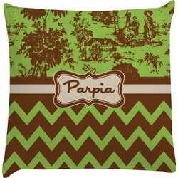 Green & Brown Toile & Chevron Decorative Pillow Case (Personalized)