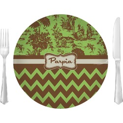 """Green & Brown Toile & Chevron 10"""" Glass Lunch / Dinner Plates - Single or Set (Personalized)"""