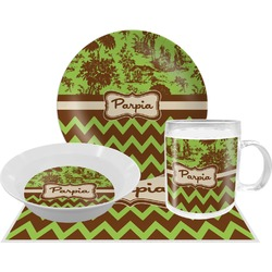 Green & Brown Toile & Chevron Dinner Set - 4 Pc (Personalized)