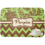 Green & Brown Toile & Chevron Dish Drying Mat (Personalized)