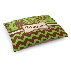 Green & Brown Toile & Chevron Dog Pillow Bed (Personalized)