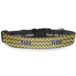 Green & Brown Toile & Chevron Deluxe Dog Collar (Personalized)