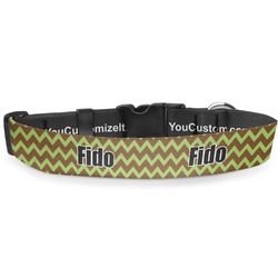 """Green & Brown Toile & Chevron Deluxe Dog Collar - Extra Large (16"""" to 27"""") (Personalized)"""