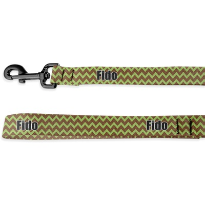 Green & Brown Toile & Chevron Deluxe Dog Leash (Personalized)