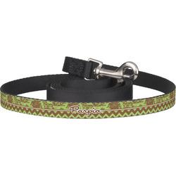 Green & Brown Toile & Chevron Dog Leash (Personalized)