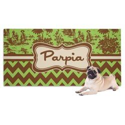 Green & Brown Toile & Chevron Pet Towel (Personalized)