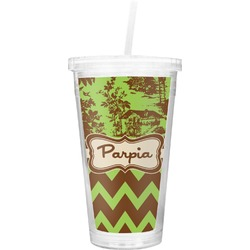 Green & Brown Toile & Chevron Double Wall Tumbler with Straw (Personalized)