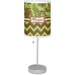 """Green & Brown Toile & Chevron 7"""" Drum Lamp with Shade Linen (Personalized)"""