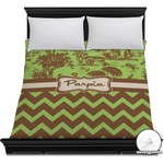 Green & Brown Toile & Chevron Duvet Cover (Personalized)