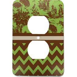 Green & Brown Toile & Chevron Electric Outlet Plate (Personalized)
