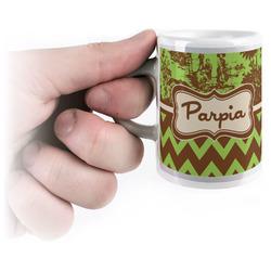 Green & Brown Toile & Chevron Espresso Cups (Personalized)