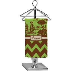 Green & Brown Toile & Chevron Finger Tip Towel - Full Print (Personalized)