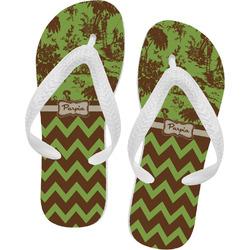 Green & Brown Toile & Chevron Flip Flops (Personalized)